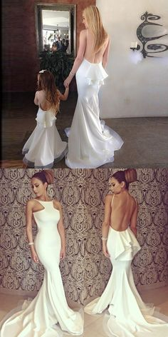 white long prom dress, mermaid prom dress, 2017 long bridesmaid dress, backless bridesmaid dress sold by Darling Girl Dress. Shop more products from Darling Girl Dress on Storenvy, the home of independent small businesses all over the world. Backless Mermaid Prom Dresses, Backless Bridesmaid Dress, Grad Dresses Long, Prom Dresses 2018, Bridal Dresses, Wedding Gowns, Wedding Bells, Evening Dresses, Formal Dresses