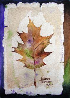 Watercolor Painting Original Autumn Oak Leaf by Dianamturnerart, $68.00