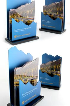 This custom design made for the Rocky Mountaineer features both metal and acrylic toggle the award a three-dimensional landscape. Trophies And Medals, Custom Trophies, Letterhead Design, Brochure Design, Acrylic Trophy, Trophy Design, Custom Awards, Award Plaques, Pop Design