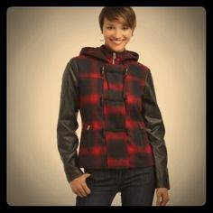 Fashion Plaid coat Cute fashionable plaid red jacket with faux sleeve an patches on each arm fashion hooks in front. Only worn twice, can post actual pictures just inquire. Thanks Jackets & Coats Pea Coats