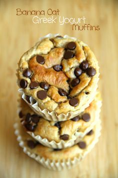 Ingredients 1 cup plain Greek yogurt 2 ripe bananas 2 eggs 2 cups rolled oats (old fashioned or quick) 1/4 cup brown sugar 1 1/2 tsp. baking powder 1/2 tsp. baking soda 1/2 cup chocolate chips, mini or regular