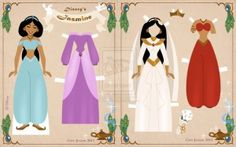 "Princess Jasmine from Disney's ""Aladdin"" paper doll by Cory Jensen"