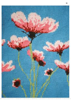 The most amazing poppy border for knits. Love this floral knitting chart