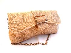 Vintage Gold Beaded Clutch/Evening Bag/Purse by LarkVintage