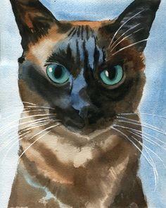 Original Tonkinese Applehead Siamese Cat Watercolor Painting  Art