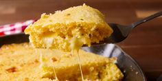 This isn't your ordinary cheesy cornbread. It's cornbread STUFFED with an entire layer of cheese.
