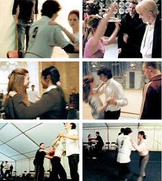 hp cast rehearsing for yule ball