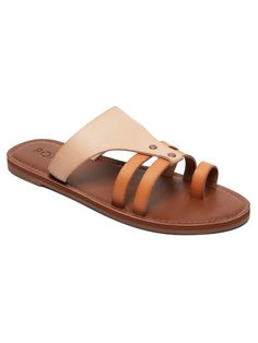 Roxy Shoes Pauline Sandals In Tan Toe Ring Sandals, Women's Shoes Sandals, Leather Sandals, Leather Slippers For Men, Womens Slippers, Roxy Shoes, Platform Espadrille Sandals, Studded Heels, Fashion Sandals