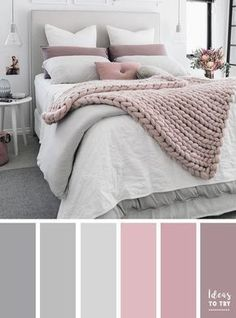 Bedroom colour palette - would look stunning with some gold accents! The perfect bedroom color palette! Bedroom ideas interior design bedroom makeover bedroom inspiration pretty bedding bedroom accessories home Pale Pink Bedrooms, Mauve Bedroom, Grey Bedroom Paint, Grey Bedroom Decor, Grey Paint, Mauve Bedding, Blush Pink And Grey Bedroom, Master Bedroom Grey, Grey Bedroom Colors
