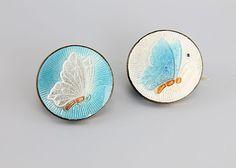 Guilloche enamel Butterfly scatter pins