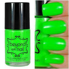 Neon Green Nail Polish - UV Reactive by beyondthenail on Etsy https://www.etsy.com/uk/listing/165727677/neon-green-nail-polish-uv-reactive