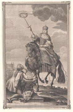 Kaiserin Maria Theresia zu Pferd aus Anlass der ungarischen Krönung 1740, Kupferstich, Österreichische Nationalbibliothek Wien