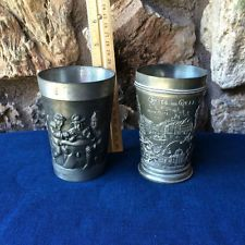 VTG.Lot 2 German Pewter Drinking Cups with Bar Scene & Town of Gruss aus Graz