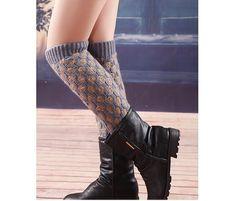 2013 New Fashion Grey Contrast Knit Legwarmers Decorative Legwear Socks Spring/Fall Boot Socks Large Stretchy Legwear