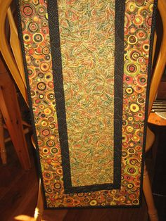 Table Runner Gold Rust Black Paisley with Geometric by TahoeQuilts