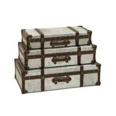 Steely Stacking Trunks - Set of 3