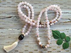 PURE HEART MALA #feldspar #pearl #rose-quartz