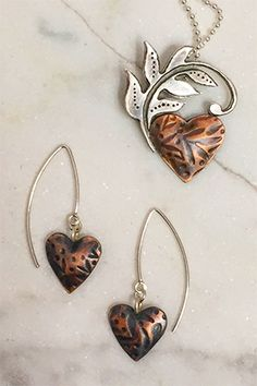 Barbara McFadyen Sterling and Copper Heart Series Mix Style, Heart Jewelry, Handcrafted Jewelry, Jewelery, Copper, Creative, Metal, Crafts, Google Search