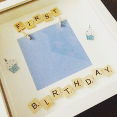 First birthday boys scrabble photo frame Craft Frames, 3d Box Frames, Shadow Box Picture Frames, Diy Shadow Box, Frames Ideas, Frame Crafts, Diy Frame, Scrabble Coasters, Scrabble Crafts
