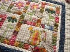 Miniature Quilt - Garden   or a mug rug--db