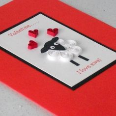 Valentine's card, quilled, quilling