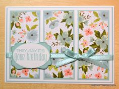 To make this card I used the stunning Birthday Bouquet Designer Series Paper from Stampin' Up! The sentiment is from Suite Sayings Stamp Set. I made a video showing how I made this card: https://youtu.be/PmqlazItUsY   www.janbcards.com