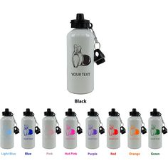"""Personalized Custom Bowling Aluminum White Finish 20 Ounce 600ML Sport Water Bottle Customizable Holiday Gift or Birthday Present! Contact Seller for Custom Text and Color Request or Leave a Gift Message at Checkout!. This white finish aluminum sport water bottle comes with FREE personalization. Add your name, a date, your initials, your pets name, your kids name or anything else you can think of! Please leave a message in the """"ADD GIFT OPTIONS"""" section at checkout with your text..."""