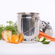 Stainless steel compost pail for the kitchen