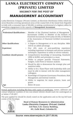 Lanka Electricity Company (Pvt) Ltd is seeking candidate for Management Accountant position. Accounting Jobs, Management, Positivity, Optimism