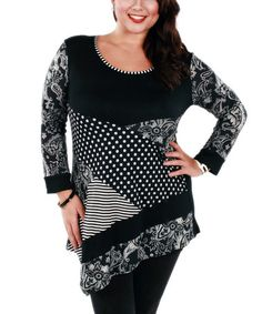 Look what I found on #zulily! Gray & Black Polka Dot Scoop Neck Tunic - Plus by Aster #zulilyfinds