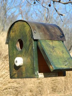 Rustic Primitive Shabby Barn Birdhouse | eBay