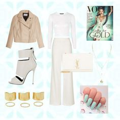White but gold by giuliamulonia on Polyvore featuring polyvore, fashion, style, Topshop, T By Alexander Wang, Giuseppe Zanotti and Yves Saint Laurent