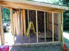 Fire wood storage shed