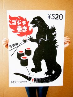 """""""Godzilla Sushi"""" Art Print by Victor Melendez and Jeff Wilkson - OMG Posters! Kunst Poster, Poster S, Poster Prints, Art Prints, L'art Du Sushi, Sushi Art, Misaki Kawai, Omg Posters, Japanese Graphic Design"""