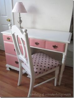 A Perfect Pair - Desk and Chair makeover - So cute!