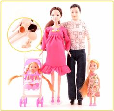 UCanaan Toys Family 5 People Dolls Carriage Real Pregnant Doll Gifts #UCanaan #Dolls