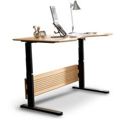 $2000 Adjustable Height Electric Standing Desk from Relax The Back. Looks pretty smic! A great permanent option. If you want something more portable and that packs into a cool carry case, check out; www.zestdesk.com