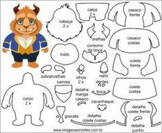 Ideas For Sewing Projects Felt Templates Felt Doll Patterns, Felt Animal Patterns, Felt Crafts Patterns, Stuffed Animal Patterns, Disney Diy, Disney Crafts, Felt Templates, Applique Templates, Applique Patterns