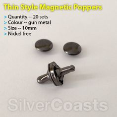20 Magnetic popper Thin style, Snap fastener Stud Clothing Bags Nickel Free 10mm. http://r.ebay.com/zBdbxv