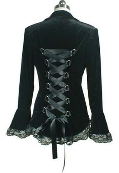 Victorian Style BLACK Velvet Gothic Corset Jacket: Amazon.co.uk: Clothing