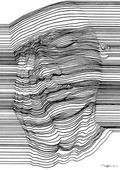 op art, printmaking, contour drawing, line drawing art, Optical Illusions Drawings, Illusions Mind, Illusion Drawings, Art Optical, 3d Drawings, Optical Illusion Art, Op Art, Drawing Artist, Pencil Portrait
