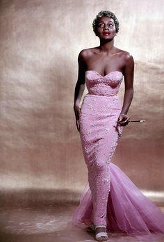 Joyce Bryant photographed by Philippe Halsman in a Zelda Wynn Valdes gown, NYC 1953