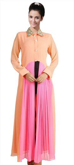 Buy Orange & Pink Georgette Embroidered Long Kurtis online in India at best price. Indian Fashion, High Fashion, Womens Fashion, Long Kurtis Online, New Kurti, Kurti Collection, Indian Patterns, Designer Kurtis, Blue Gown