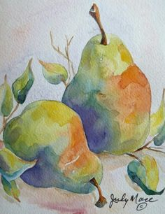 Original pears greeting card watercolor by DakotaPrairieStudio by Nadir Wilcke Watercolor Fruit, Fruit Painting, Watercolor Cards, Watercolor Flowers, Watercolor Paintings, Watercolors, Watercolor Projects, Watercolor Techniques, Painting Techniques