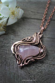 Pink quartz pendant Pose quartz Wire wrap necklace Wire