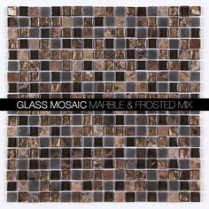 Dark Emperador Polished Marble 5/8x5/8 Glass Blend Square MAG-4437-SQ  http://allmarbletiles.com/mosaic-tiles/glass-mosaics/all-marble-mosaic-glass-and-stone-mix-5-8-x-5-8-glass-mosaic-tile-mag-4431-sq-clone.html