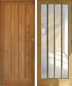 Solid Oak Interior Panelled And Glazed Doors