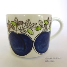 Rorstrand Sweden 'Viktoria' Hand Painted Coffee Cup. Blue apples and green leaves pattern by Marianne Westman.