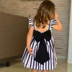 Girls Blue Striped Ruffle Sleeveless Hi-Low Dress African Dresses For Kids, Kids Outfits Girls, Little Girl Dresses, Girl Outfits, Kids Dress Wear, Kids Gown, Baby Frocks Designs, Kids Frocks Design, Baby Girl Frocks
