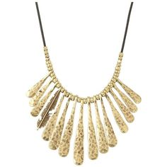 Lucky Brand Indian Spice Gold Fan Necklace ($49) ❤ liked on Polyvore featuring jewelry, necklaces, chain necklace, gold pendant, gold tone necklace, gold chain pendant and feather necklace
